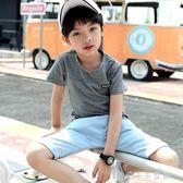 兒童短袖t恤男童體恤半袖夏天男孩中大童上衣童裝潮  千千女鞋