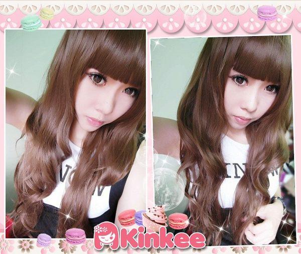 *╮Kinkee假髮╭*ABBY示範 甜蜜蜜英式宮廷風極致美型耐熱長捲髮假髮【K0043】