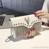 小包包女2018秋季新款流蘇手包韓版個性時尚百搭氣質手拿包女 美芭