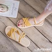 涼鞋 一鞋兩穿女涼鞋2020年新款仙女風平底網紅時尚超火百搭夏天涼拖鞋 7月熱賣