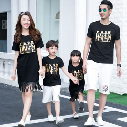 GU韓版黑色流蘇燙金字母短袖上衣親子裝(小孩)