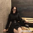 春季新款性感寬鬆中長款黑色襯衫裙子金屬扣收腰連衣裙女裝潮 時尚芭莎