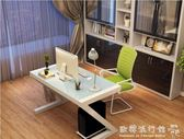 電腦桌  簡約現代鋼化玻璃電腦桌台式家用辦公桌 簡易學習書桌寫字台igo  歐韓流行館