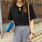 小心機短袖春裝新款韓版女裝小心機綁帶休閒...