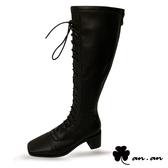 長靴 歐美率性方頭馬甲高跟長靴(黑)* an.an【18-A816-9bk】【現+預】