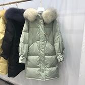 羽絨外套-白鴨絨-連帽大毛領寬鬆長款女夾克4色73zb12[時尚巴黎]