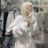 上衣女秋可拆卸白色寬鬆休閒長袖t恤【小酒窩服飾】