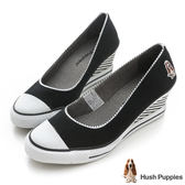 Hush Puppies海軍風咖啡紗帆布楔型鞋-黑