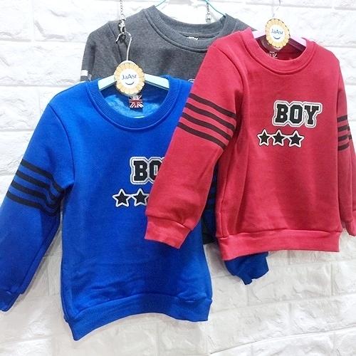 ☆棒棒糖童裝☆(E98086)秋冬男童星星BOY內刷不倒絨長袖上衣  3-13