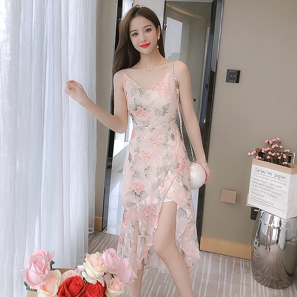 洋裝 春夏洋裝 202年夏雪紡吊帶碎花荷葉邊顯瘦高腰氣質仙女裙 2843 依Baby