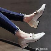 小皮鞋女粗跟單鞋百搭方頭中跟鞋子學院風韓版女鞋春季高跟鞋 樂芙美鞋