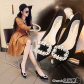 高跟鞋 百搭時尚水鑽尖頭高跟鞋細跟黑色女士職業單鞋中跟【小天使】