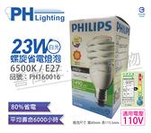 PHILIPS飛利浦 23W 110V 865 6500K 黃光 麗晶 省電螺旋燈管_ PH160016