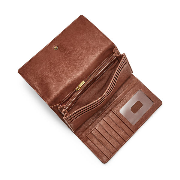 FOSSIL LOGAN 咖啡色三折真皮拉鍊RFID長夾SL7833200