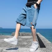 2020男士牛仔短褲 夏季韓版潮流五分直筒褲百搭外穿休閒七分中褲子 JX3172『東京衣社』