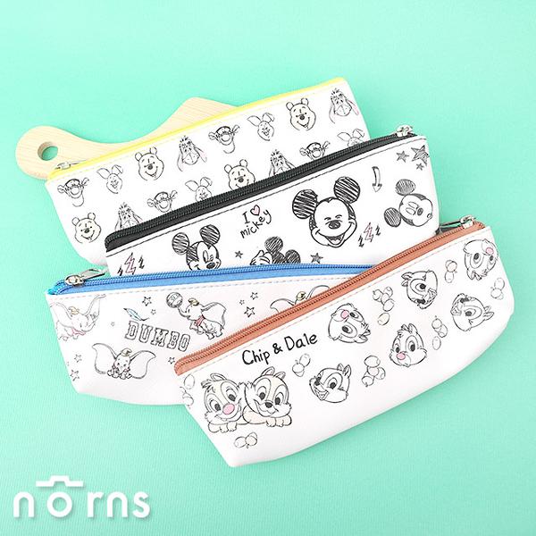 迪士尼皮質三角筆袋- Norns 正版授權 維尼 史迪奇 奇奇蒂蒂 米奇 小飛象 鉛筆盒