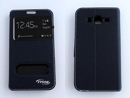 TYSON Samsung Galaxy J5 雙視窗磁扣側翻手機保護皮套 內TPU軟殼全包