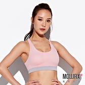 Mollifix 瑪莉菲絲 小交叉美背運動內衣 (粉+淡灰)