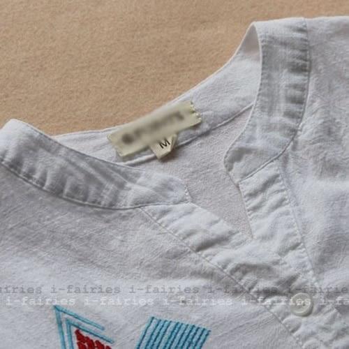 現貨+快速★長袖襯衫 V領民族風刺繡上衣★ifairies【35924】