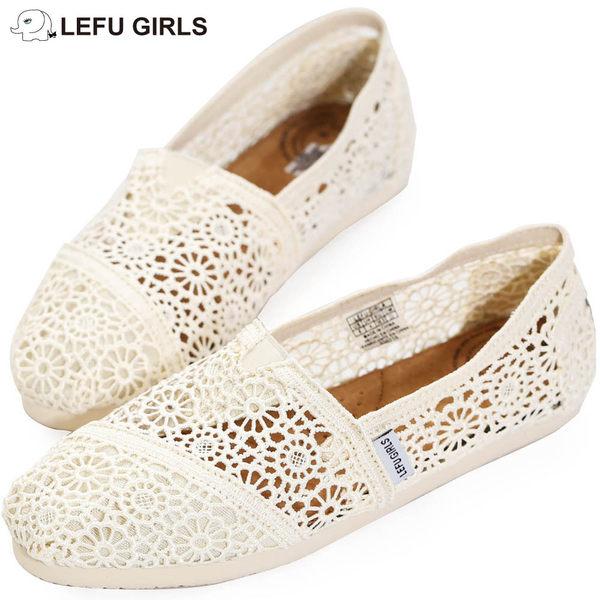 Lefu Girls Crochet 米白色針織鉤花懶人鞋【現貨】