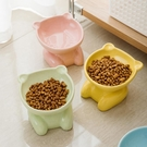 寵物碗 陶瓷寵物碗糧食碗貓碗高腳碗護頸貓碗零食碗水碗防黑下巴斜邊碗【幸福小屋】