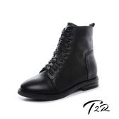 【韓國T2R】T2R-正韓空運-真皮綁帶拉鍊韓版個性百搭短靴-黑-增高6公分-黑(5985-1925)