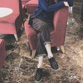 九分褲正韓學生新款高腰闊腿黑色牛仔褲女寬鬆大尺碼BF九分哈倫直筒 (七夕節禮物)