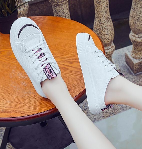 半拖鞋涼拖女夏時尚外穿厚底懶人無後跟帆布鞋包頭半拖鞋新款小白鞋 嬡孕哺