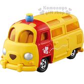 〔小禮堂〕小熊維尼 TOMICA小汽車《黃.小巴士》DM-18經典造型值得收藏  4904810-84041