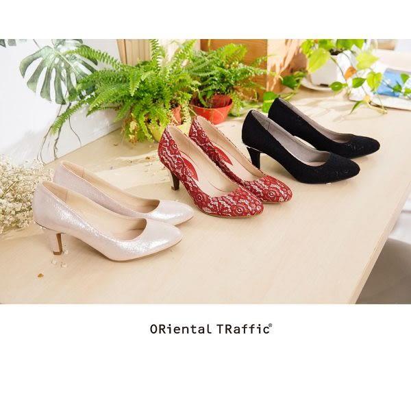 【ORiental TRaffic】質感蕾絲後珍珠圓頭跟鞋 - 優雅金