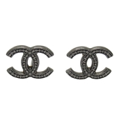 CHANEL 香奈兒 黑色金屬Logo針式耳環 Earrings 【BRAND OFF】