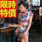 改良式短旗袍-復古修身開叉唐裝女連身裙2...