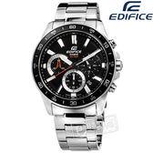 EDIFICE CASIO / EFV-570D-1A / 卡西歐 經典三眼 計時碼錶 日期 防水100米 不鏽鋼手錶 黑色 42mm