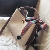 撞色水桶包女包絲巾包包新款歐美時尚手拎簡約包單肩大包「時尚彩虹屋」