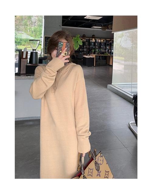 EASON SHOP(GW9840)韓版純色側邊開衩長版前排釦開衫V領長袖連帽毛衣針織連身裙洋裝女包臀裙過膝長裙