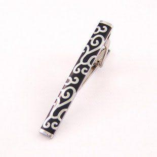 黑底銀色複古雕花領帶夾 男士優雅配件 IFSONG 090