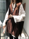 V領開叉背心馬甲女韓版百搭寬鬆顯瘦無袖毛衣針織衫外套兩件套  自已角落