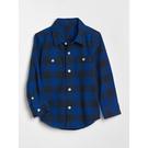 Gap男幼童 舒適大方格長袖紐扣襯衫 496341-明亮藍