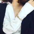 手鐲歐美雙環打結手鐲女開口手環鍍18K彩金色個性飾品日韓情侶手鐲 嬡孕哺