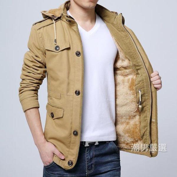 秋冬季夾克刷毛加厚青年連帽冬裝休閒牛仔衣服中年大碼男士外套潮xw