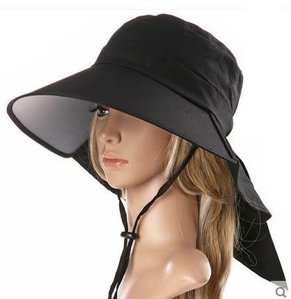 遮陽帽女大沿防紫外線防曬帽太陽帽折疊騎車沙灘帽 -com10041