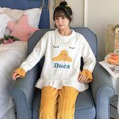 加厚絨睡衣女秋冬季法蘭絨學生可愛保暖韓版珊瑚絨冬天家居服套裝-ifashion