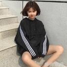 外套春夏女裝韓版情侶寬鬆撞色條紋連帽短款...