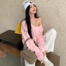 粉色大領口露肩衛衣長袖外套上衣女寬鬆韓版bf慵懶風ins潮超火秋 果果輕時尚