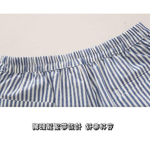 *孕味十足。孕婦裝*現貨+預購 【COH502102】顯瘦時尚清新直條紋設計孕婦(腰圍可調)短褲 兩色