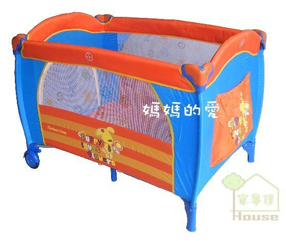 [ 家事達]Mother's Love- 83061  動物單層遊戲床-小花狗(淺藍)  特價 內附蚊帳