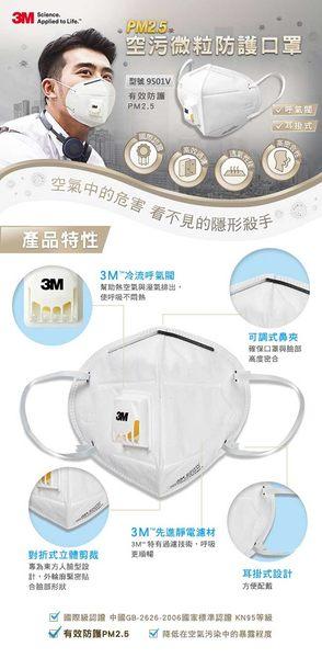 3M 9501V PM2.5空污微粒防護口罩-帶閥型 7100150464