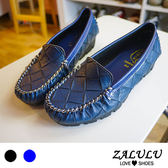 ZALULU愛鞋館 7M8901 現貨 MIT台灣製菱格壓紋柔軟小厚底包鞋-藍/黑-36-39