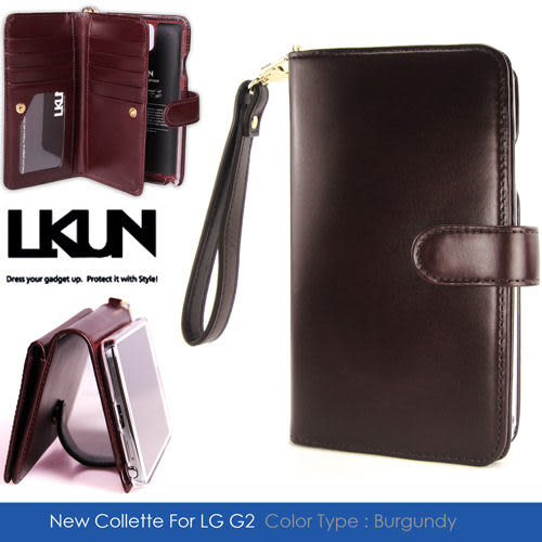 【韓國原裝潮牌 LKUN】LG Optimus G2 D802 專用保護皮套 100%高級牛皮 多功能皮套&錢包完美結合 (酒紅)