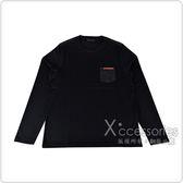 PRADA經典橡膠LOGO拼接口袋純棉長袖T恤(黑)